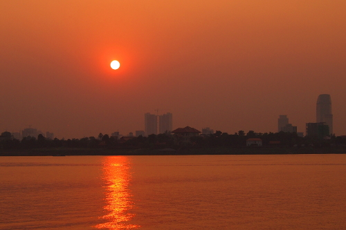 Sunset over the Mekong in Phnom Penh, Cambodia