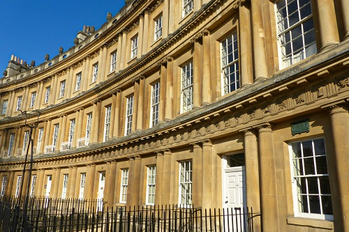Row of houses on The Circus in Bath, England
