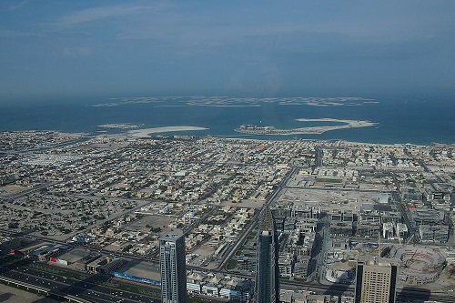 View over the World islands from Burj Khalifa in Dubai, UAE