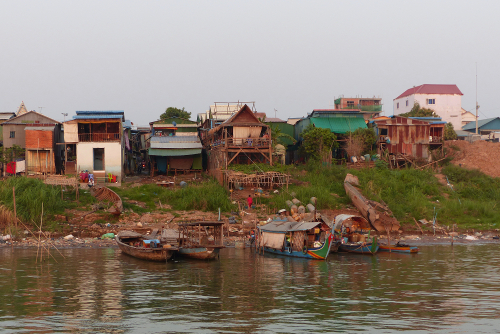 Water Village and boats on the Mekong, Phnom Penh, Cambodia