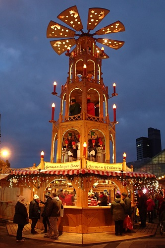 Bar with a windmill on top at Manchester Christmas Market in England