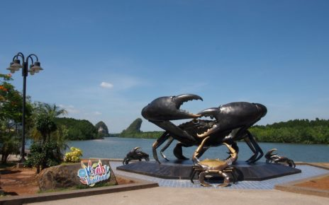 Mud crabs sculpture in Krabi town, Thailand