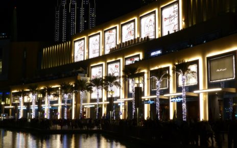 Christmas lights outside Dubai Mall in UAE