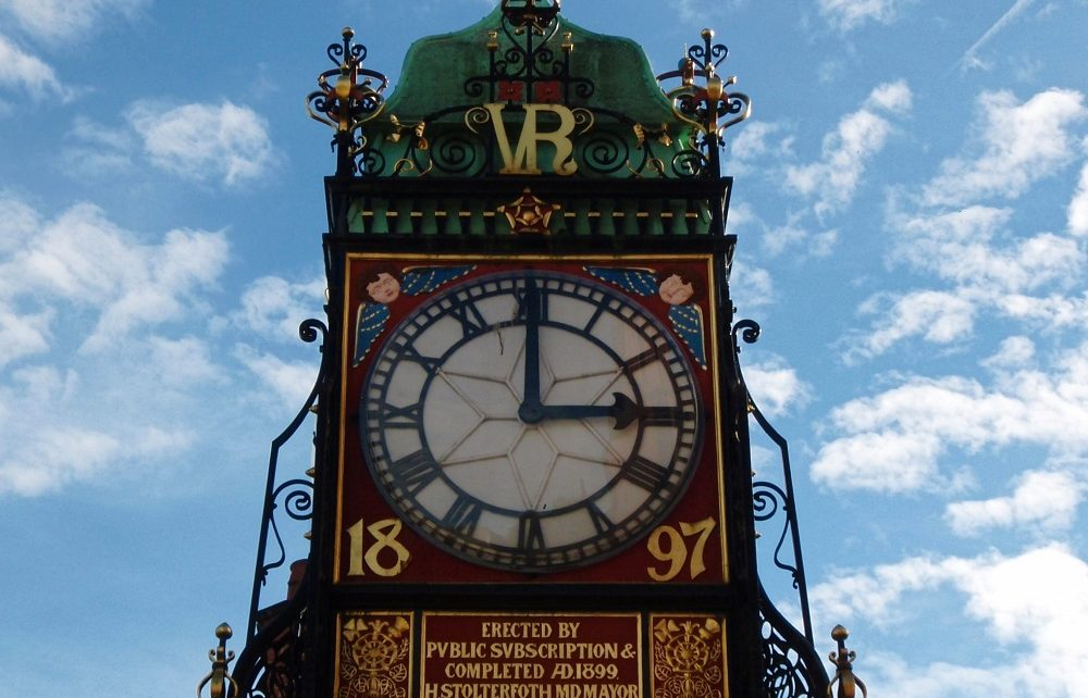 Ornate clock in Chester, England