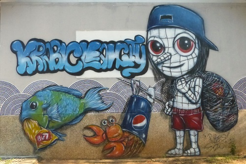'Clean city' street art in Krabi town, Thailand