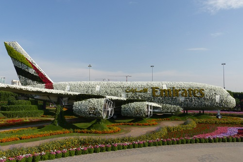 Flower Emirates A380 plane at Dubai Miracle Garden, UAE
