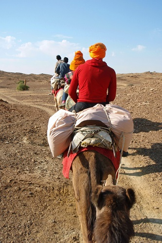 Camel trekking in the Thar Desert near Jaisalmer, India