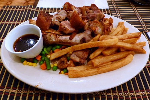 Crispy Pata and chips in Weno, Chuuk, Micronesia