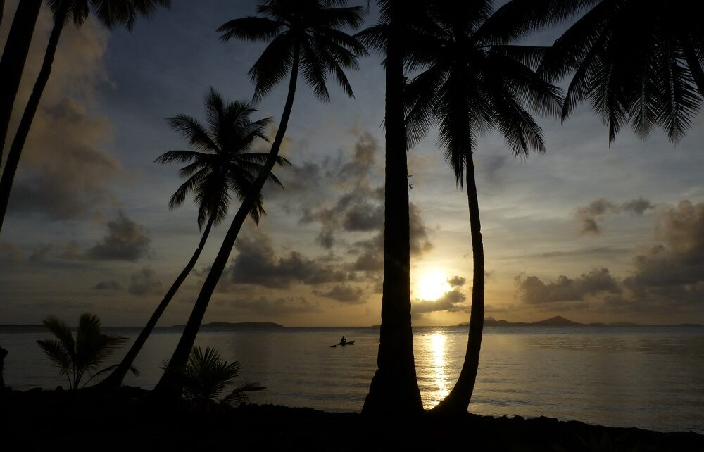 Paddling canoe and palm trees at dusk in Chuuk Lagoon, Micronesia