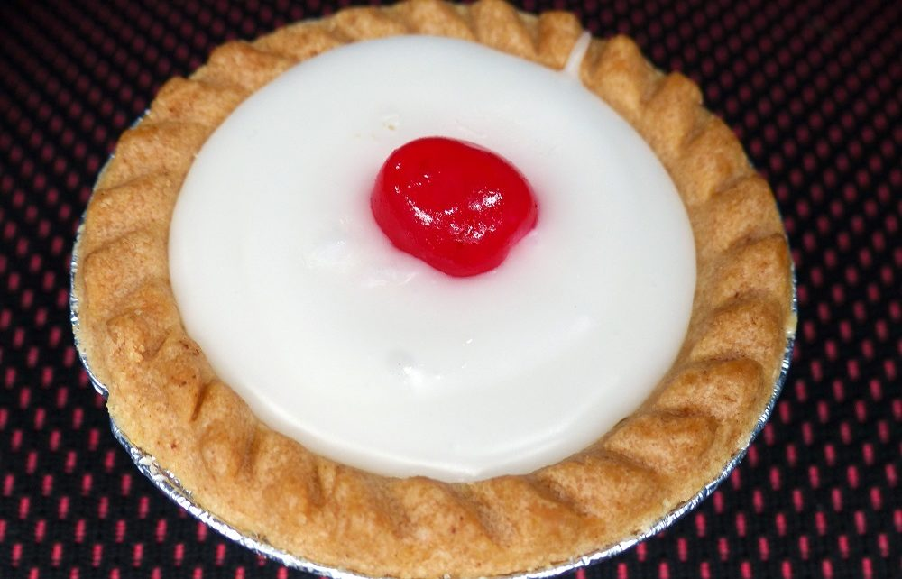 Iced Bakewell tart in the Peak District, England