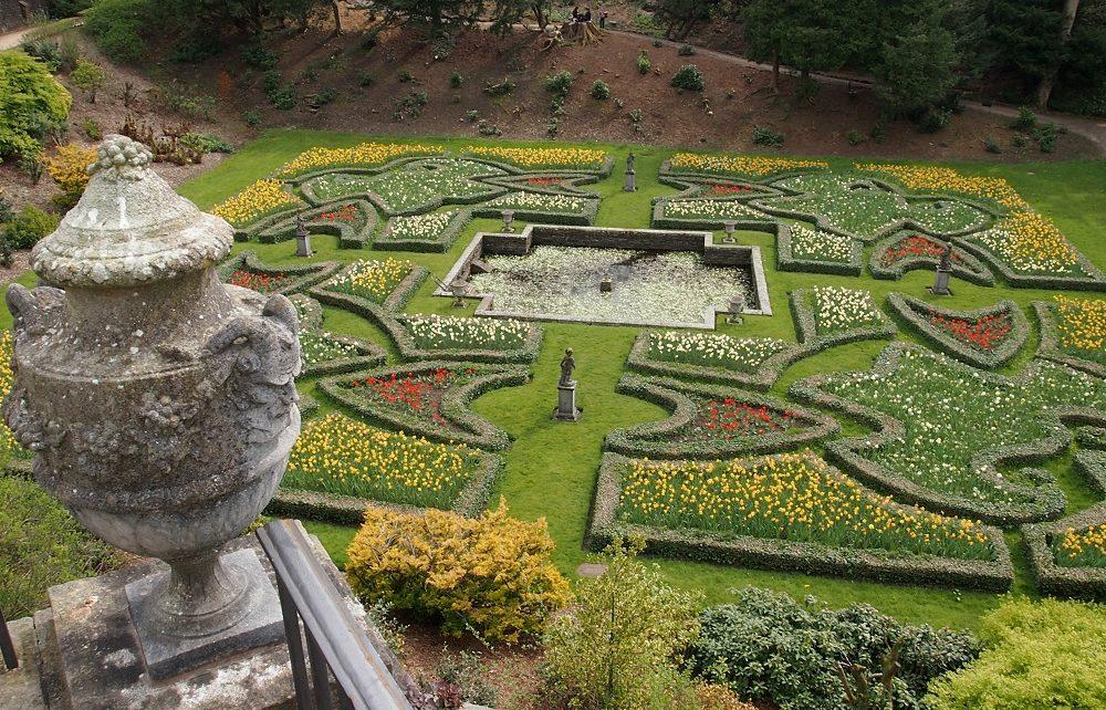View over Italian garden at Lyme, Peak District
