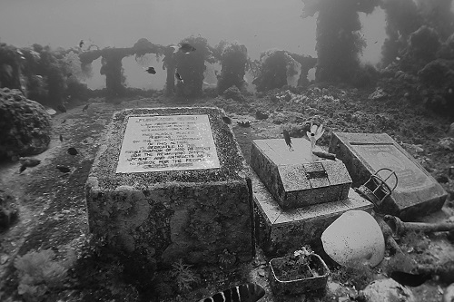 Memorial plaques on the deck on Fujikawa Maru wreck in Chuuk Lagoon, Micronesia