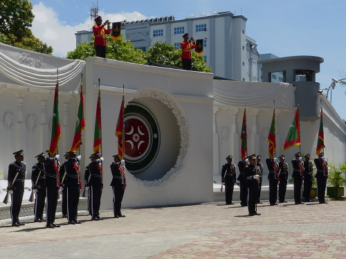 Soldiers at flag raising ceremony in Male, Maldives