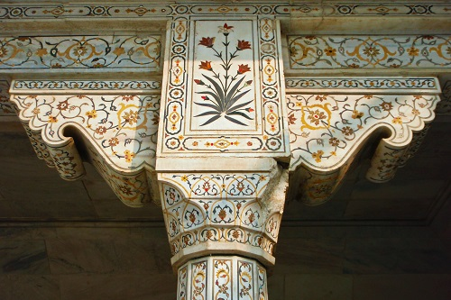 Decorated pillar at Agra Fort in India