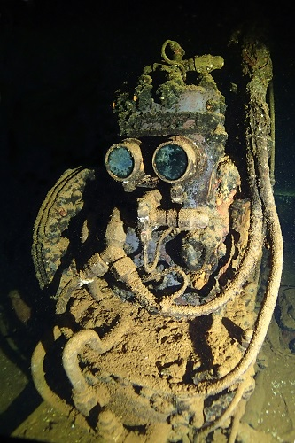 R2D2 lookalike air compressor on Fujikawa Maru wreck in Chuuk Lagoon, Micronesia