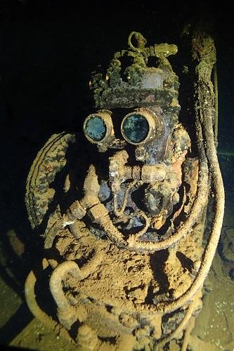 R2D2 lookalike air compressor on Fujikawa Maru wreck in Chuuk Lagoon, Micronesia
