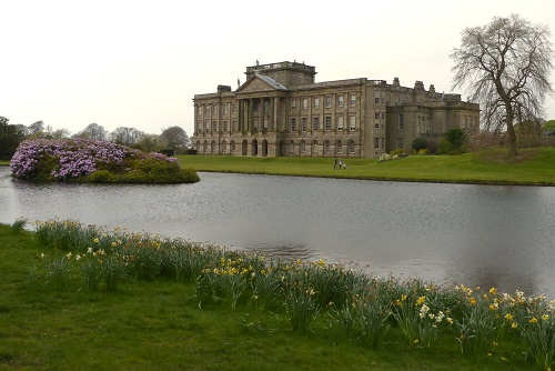 Stately home by Reflection Lake at Lyme, Peak District