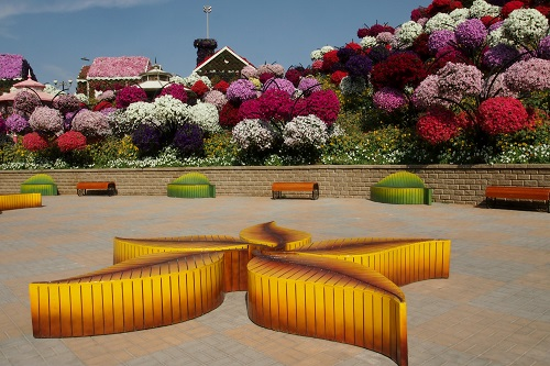 Leaf-shaped benches in Dubai Miracle Garden, UAE