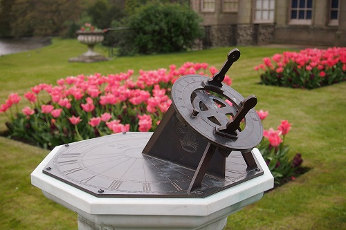Sundial and tulips at Lyme, Peak District