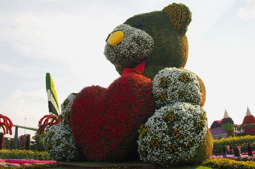 Giant Flower Teddy Bear at Dubai Miracle Garden, UAE