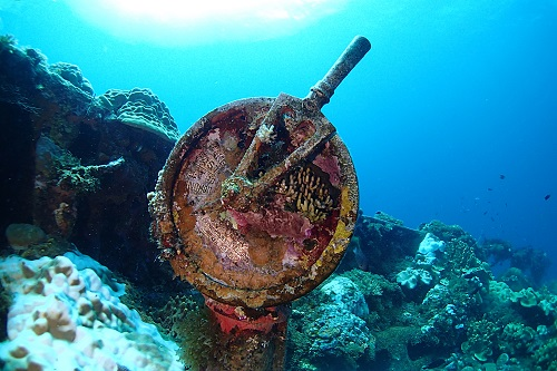 Telegraph on the deck of Fujikawa Maru wreck in Chuuk Lagoon, Micronesia