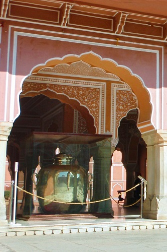 Giant silver urn in the Pink City, Jaipur, India
