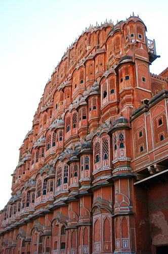 Ornate facade of Hawa Mahal in the Pink City, Jaipur, India