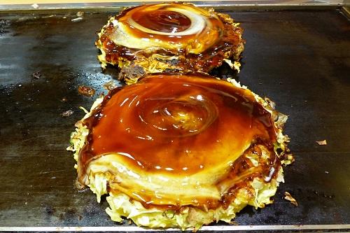 Finished okonomiyaki ready to eat in Osaka, Japan