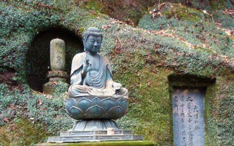 Seated Buddha practising zazen at Tokei Ji temple in Kamakura, Japan
