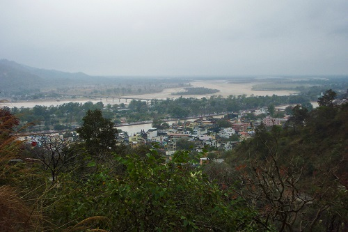 Hilltop view over the Ganges in Haridwar, India