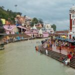 Bathers on the steps of Har Ki Pauri ghat in Haridwar, India