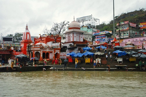 Umbrellas over stalls on Har Ki Pauri ghat in Haridwar, India