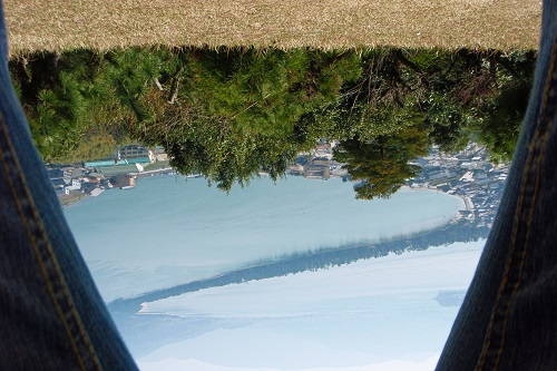 The view of the bridge to heaven at Amanohashidate, Japan