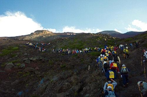 School kids climbing Mount Fuji, Japan