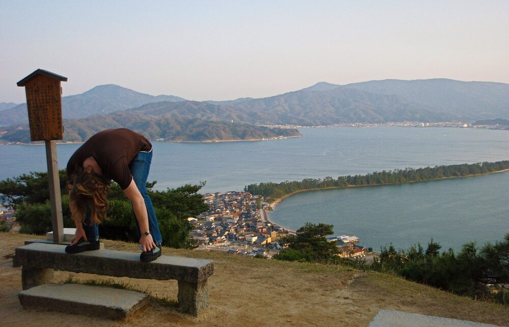 Chris viewing the sandspit at Amanohashidate, Japan