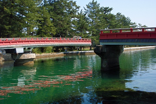 Bridge turning 90 degrees in Amanohashidate, Japan