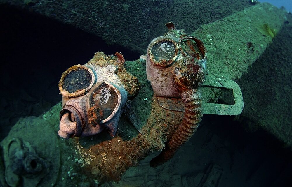 Gas masks seen diving the wreck of Nippo Maru, Chuuk Lagoon, Micronesia