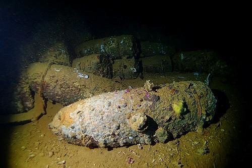 Pile of 18 inch shells seen diving Yamagiri Maru wreck in Chuuk Lagoon, Micronesia