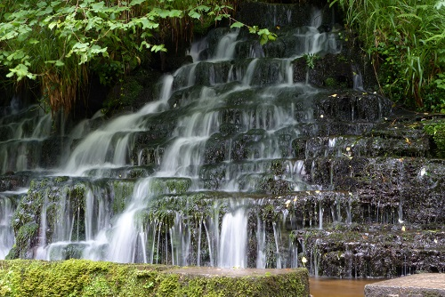 Tiered waterfall in Cladagh Glen, Northern Ireland