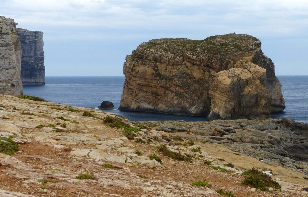 Fungus Rock and Coastline of Dwejra Bay in Gozo