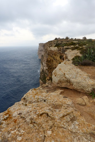 Dramatic coastal cliffs at Sannat in Gozo