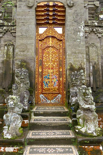 Ornate doorway and steps and Ulun Danu Bratan Temple in Bali, Indonesia