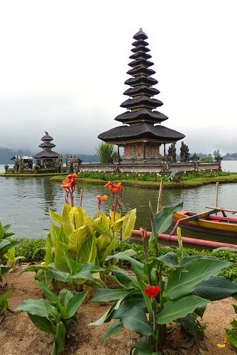 Floating shrine and flowers at Pura Ulun Danu Bratan in Bali, Indonesia