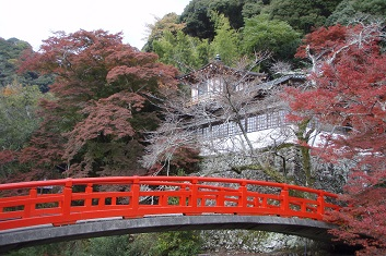 Autumn leaves and a red bridge in Minoh, Japan