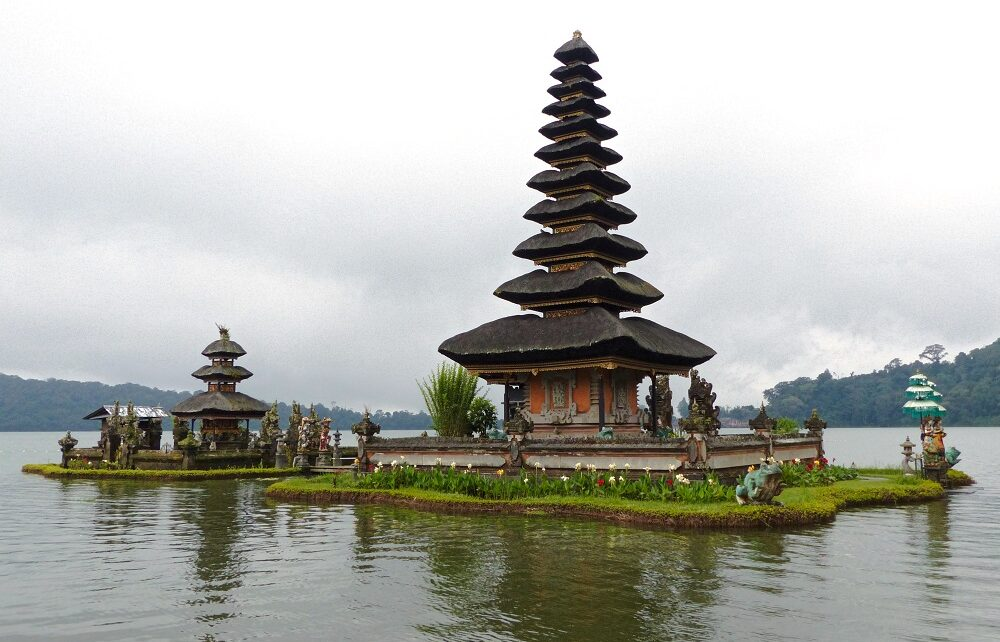 Main shrine floating on lake at Ulun Danu Bratan temple in Bali, Indonesia