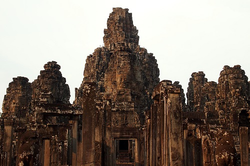 Towers of the Bayon temple in Angkor Thom near Siem Reap, Cambodia