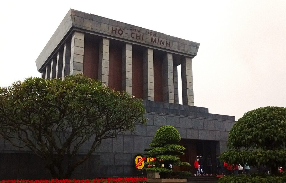 People entering Ho Chi Minh's Mausoleum in Hanoi, Vietnam