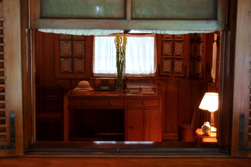 Desk in Ho Chi Minh's stilt house in Hanoi, Vietnam
