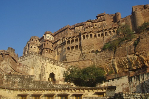 Looking up at the main gate and palace at Mehrangarh Fort in Jodhpur, India