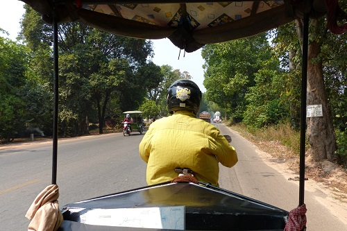 View from tuk-tuk of the road to Roluos temples near Siem Reap, Cambodia